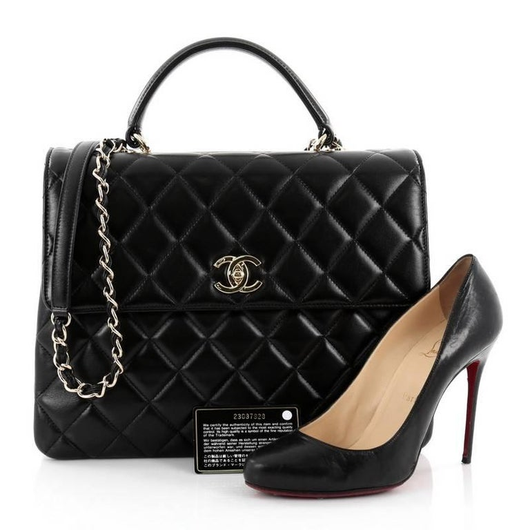 bbe5dda73fef This authentic Chanel Trendy CC Top Handle Bag Quilted Lambskin Large is a  marvelous day or