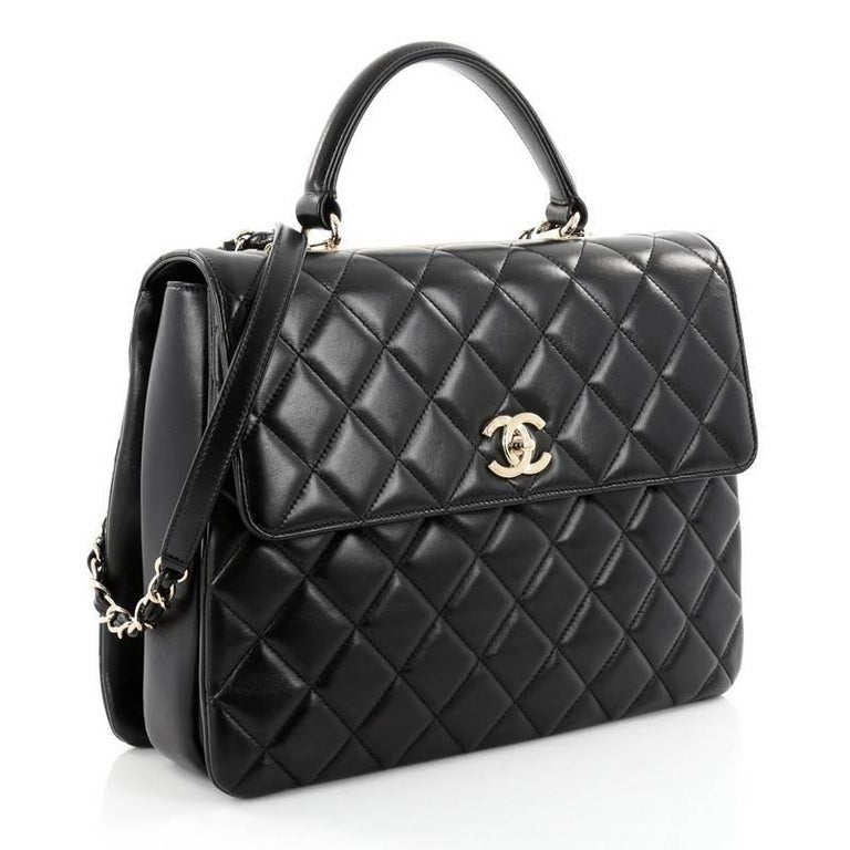 aba5b84fd4a5 Black Chanel Trendy CC Top Handle Bag Quilted Lambskin Large For Sale