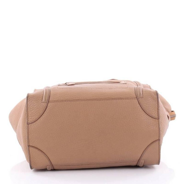 Celine Luggage Handbag Grainy Leather Mini 5