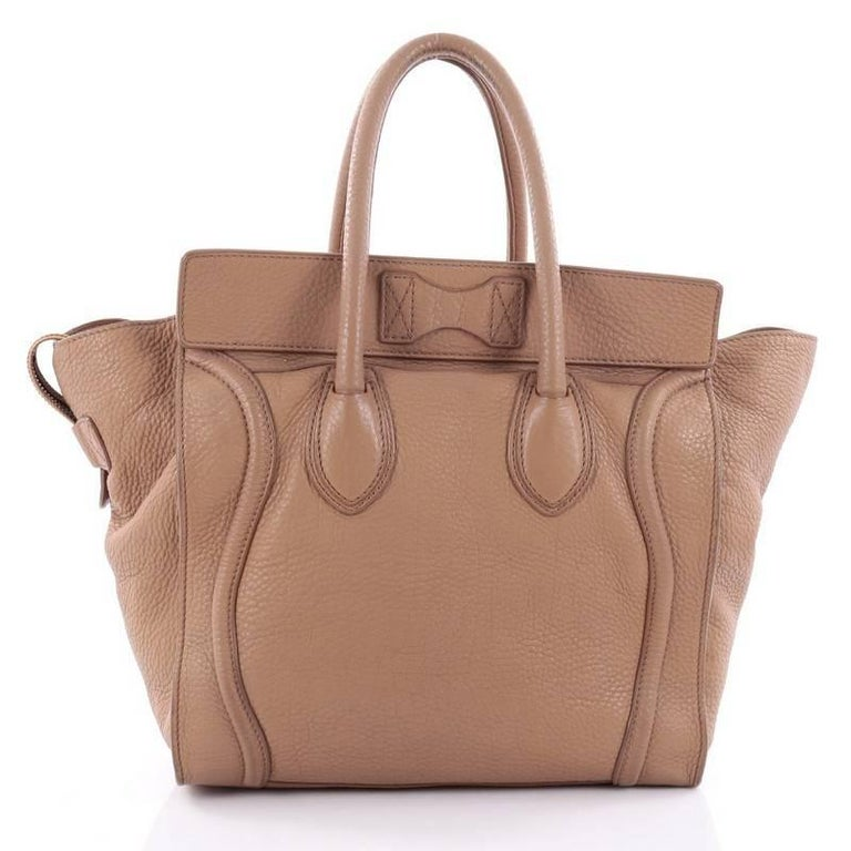 Celine Luggage Handbag Grainy Leather Mini 4