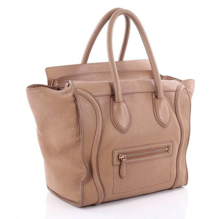 Brown Celine Luggage Handbag Grainy Leather Mini For Sale
