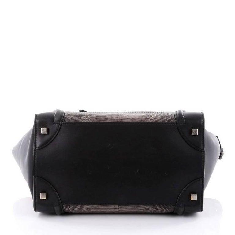 Women's or Men's Celine Luggage Handbag Lizard and Leather Mini For Sale