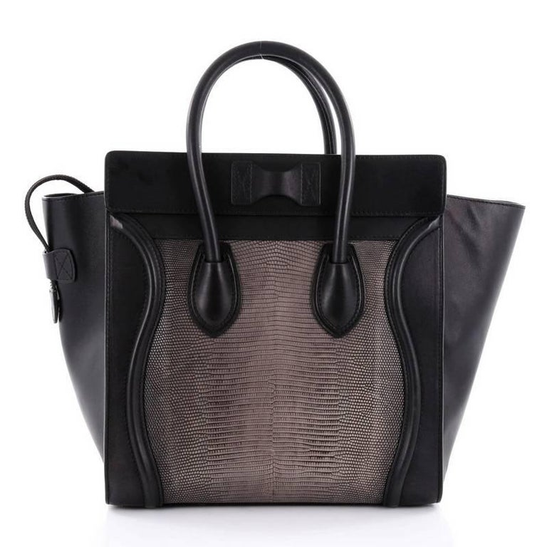 Celine Luggage Handbag Lizard and Leather Mini In Good Condition For Sale In New York, NY