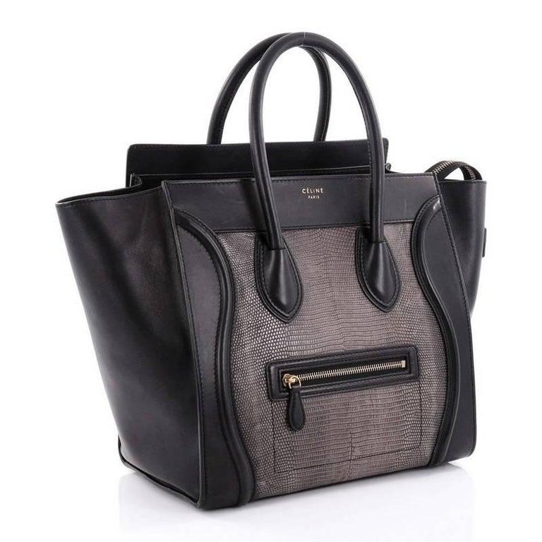 Black Celine Luggage Handbag Lizard and Leather Mini For Sale