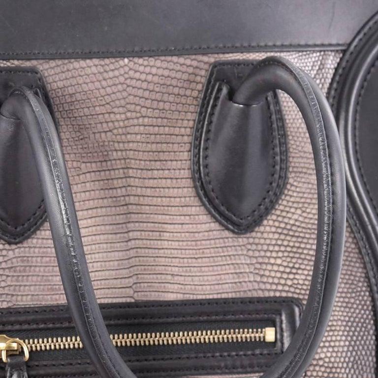 Celine Luggage Handbag Lizard and Leather Mini For Sale 2