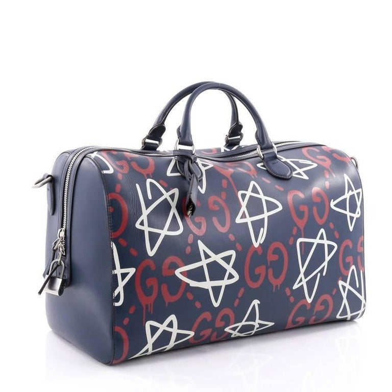 f321f40654e9 Black Gucci Convertible Duffle Bag GucciGhost Leather For Sale
