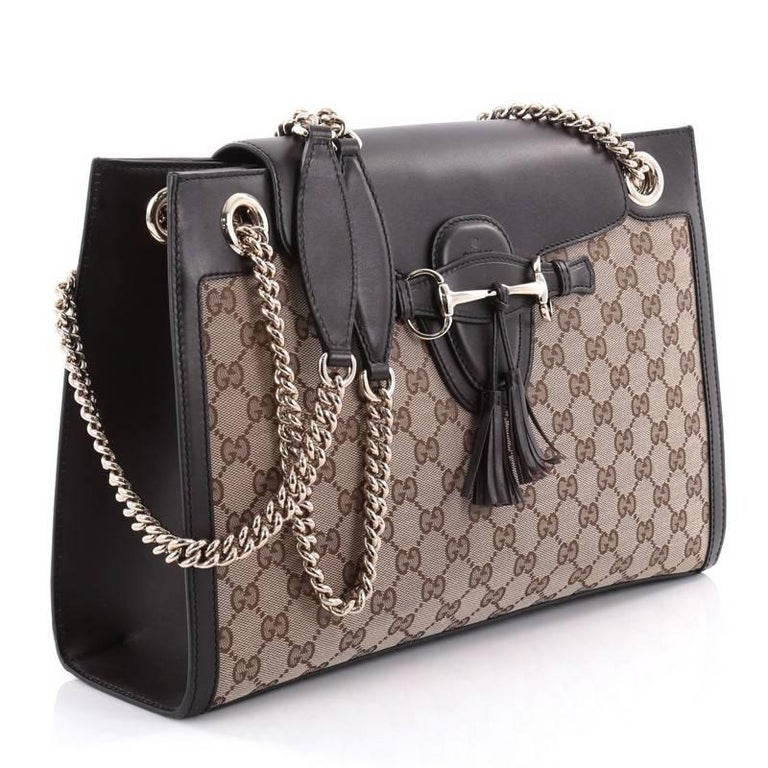 3705f75406aa Gray Gucci Emily Chain Flap Shoulder Bag GG Canvas Large For Sale