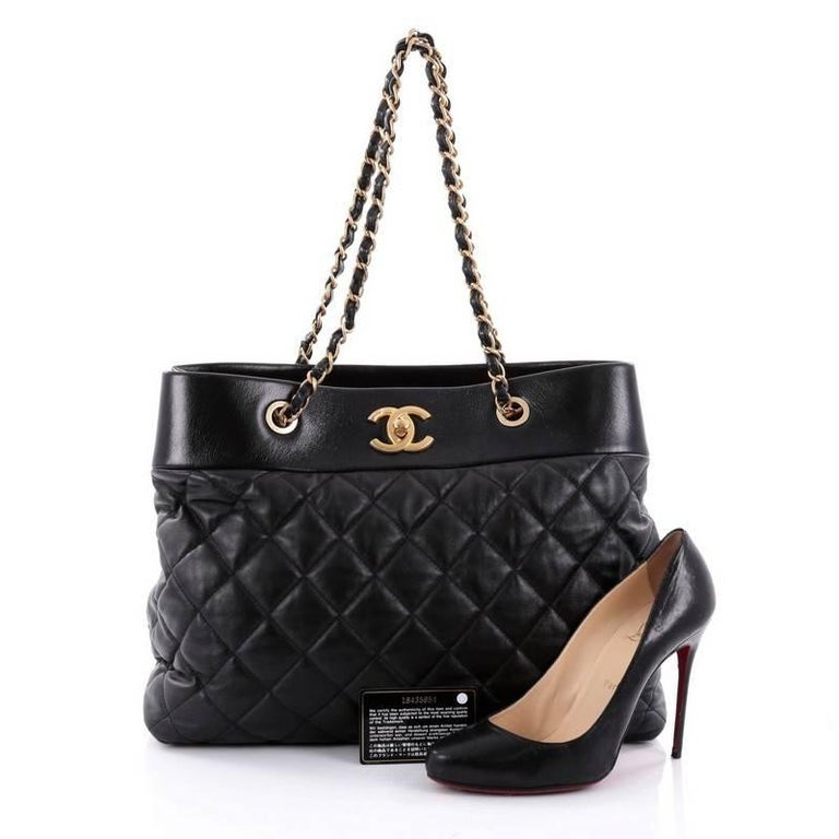 fa8aae28d6aa This authentic Chanel Soft Elegance Tote Quilted Distressed Calfskin Large  presented in the brand's Fall/