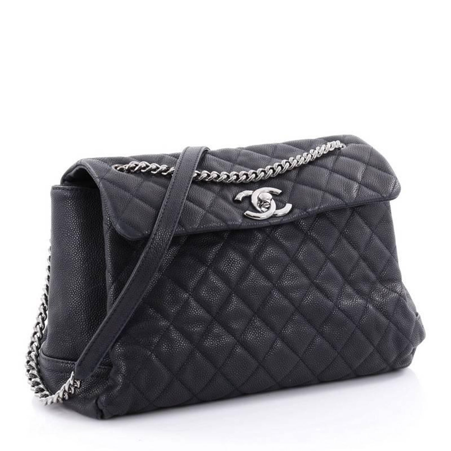 2dc6dadc639eb0 Chanel Lady Pearly Flap Bag Quilted Matte Caviar Large at 1stdibs