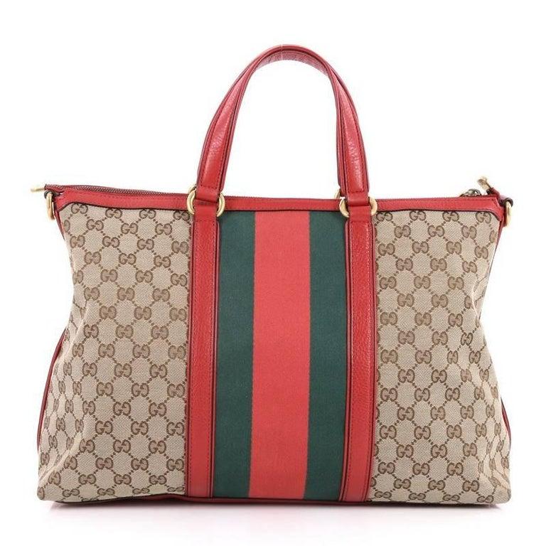 51df0d467ba842 Gucci Rania Convertible Top Handle Bag Web GG Canvas Medium In Good  Condition For Sale In