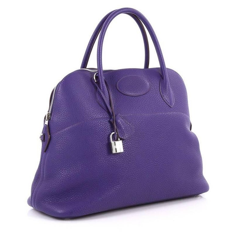 Purple Hermes Bolide Handbag Clemence 35 For Sale