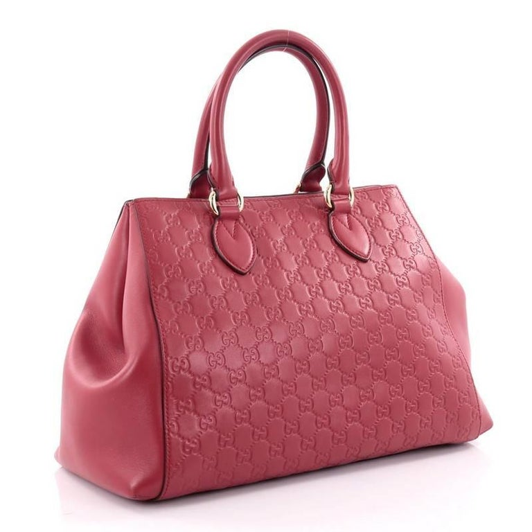 c0ecf41f67e Pink Gucci Soft Signature Convertible Top Handle Bag Guccissima Leather  Large For Sale