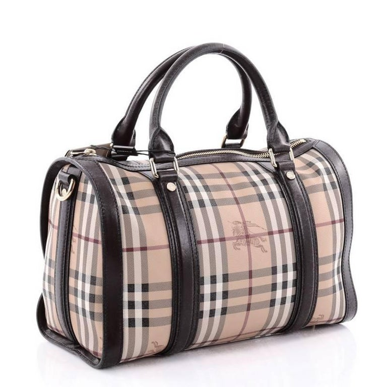 6c8aa1ef7ac Brown Burberry Alchester Bowling Bag Haymarket Coated Canvas and Leather  Medium For Sale