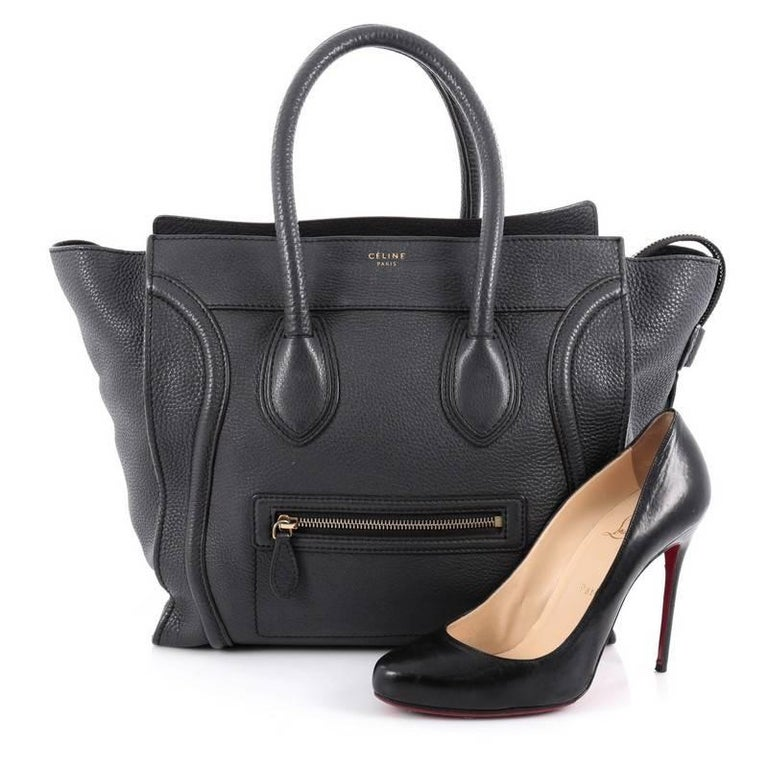 This Authentic Celine Luggage Handbag Grainy Leather Mini Epitomizes Phoebe Philo S Minimalist Yet Chic Style