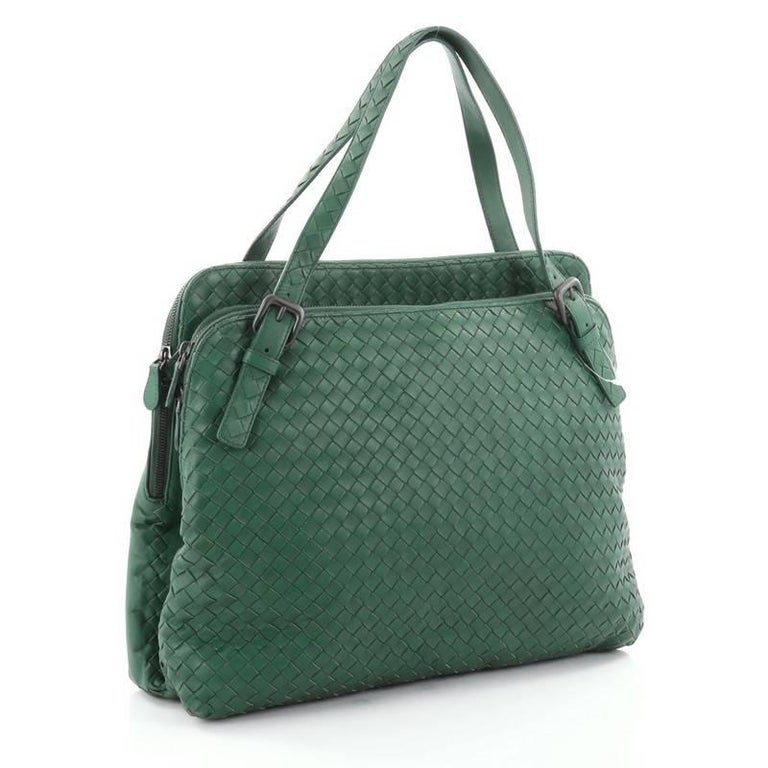 Blue  Bottega Veneta Double Compartment Tote Intrecciato Nappa Large For Sale