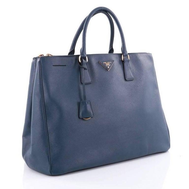 c07aca7bee72 Purple Prada Double Zip Lux Tote Saffiano Leather Large For Sale