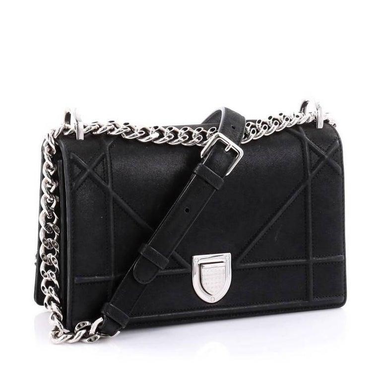 Black Dior Diorama Flap Bag Iridescent Nubuck For