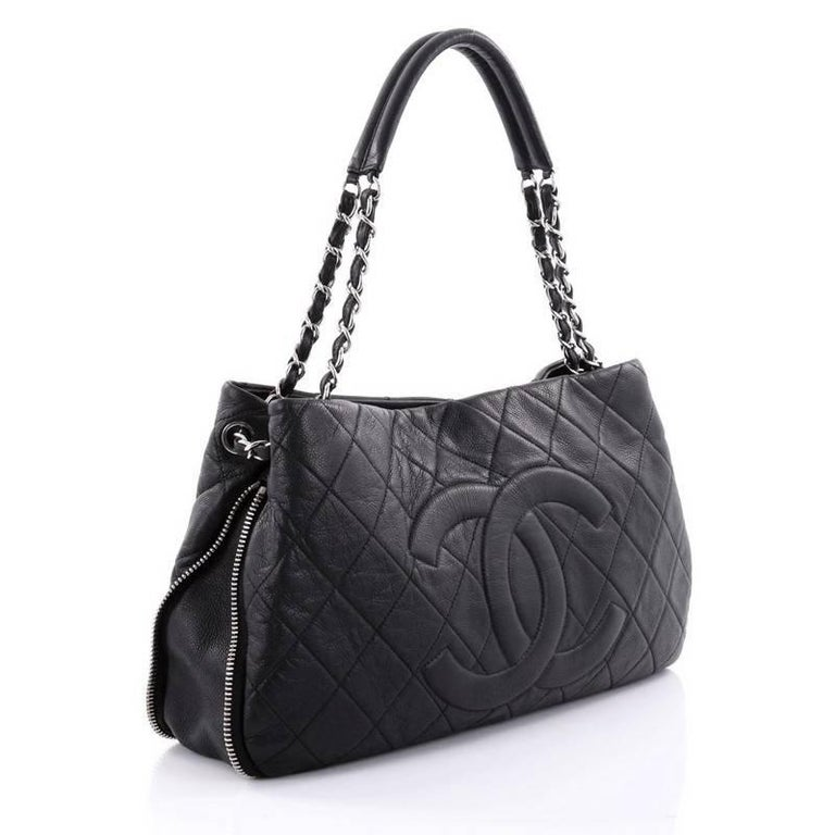 d34dbe4b813f Black Chanel Timeless CC Expandable Tote Quilted Caviar Medium For Sale