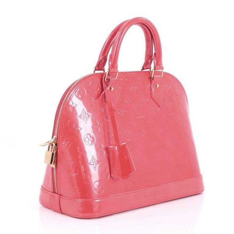 Red Louis Vuitton Monogram Vernis Pm Alma Handbag For