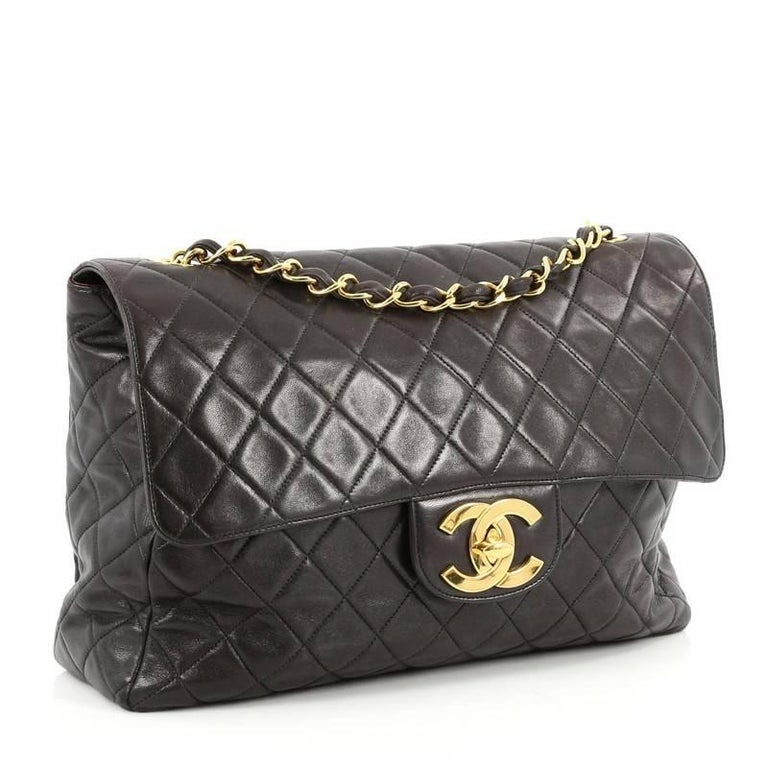 dc0ac697010e Black Chanel Vintage Classic Single Flap Bag Quilted Lambskin Maxi For Sale