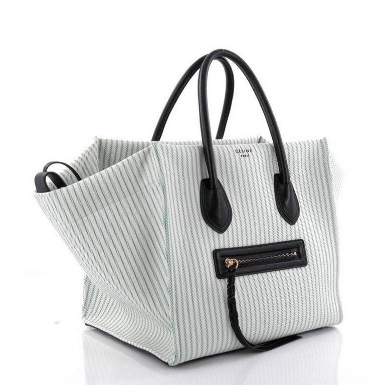 cedfbedbe2ca Gray Celine Phantom Handbag Striped Canvas and Leather Medium For Sale
