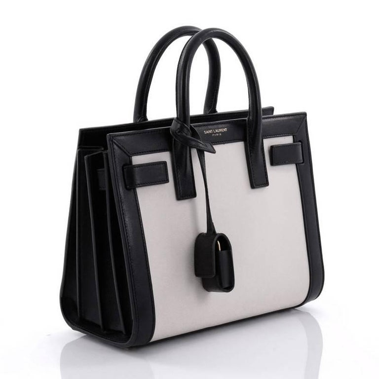 d2f48cbfbed Gray Saint Laurent Bicolor Sac de Jour Handbag Leather Nano For Sale