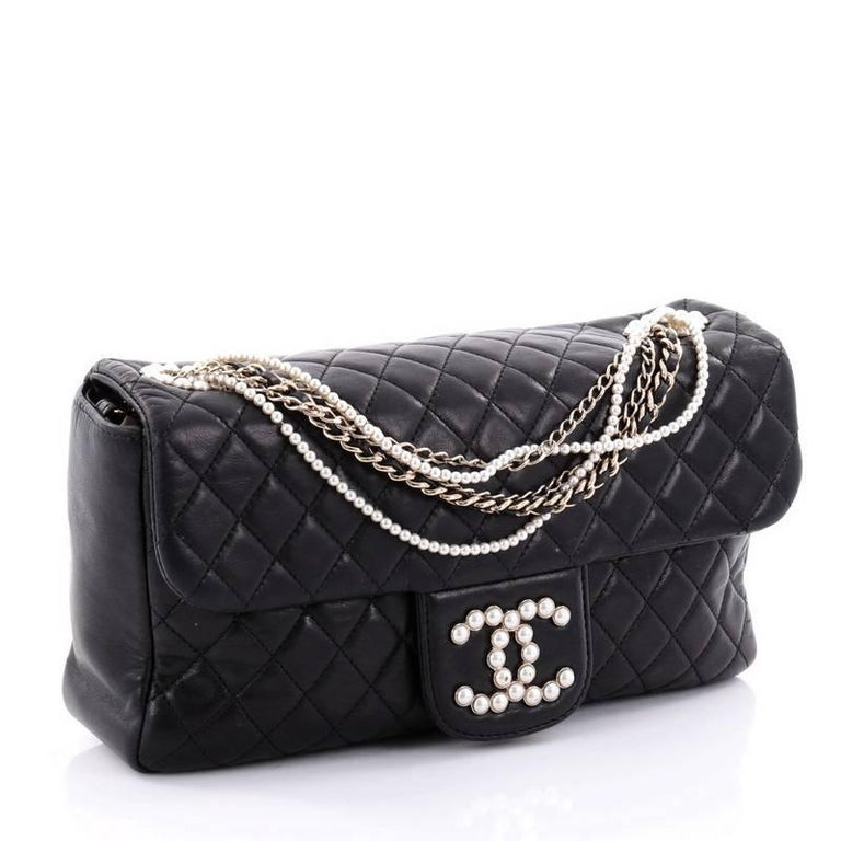 bee2817a8158 Black Chanel Westminster Quilted Lambskin Medium Pearl Chain Flap Bag For  Sale