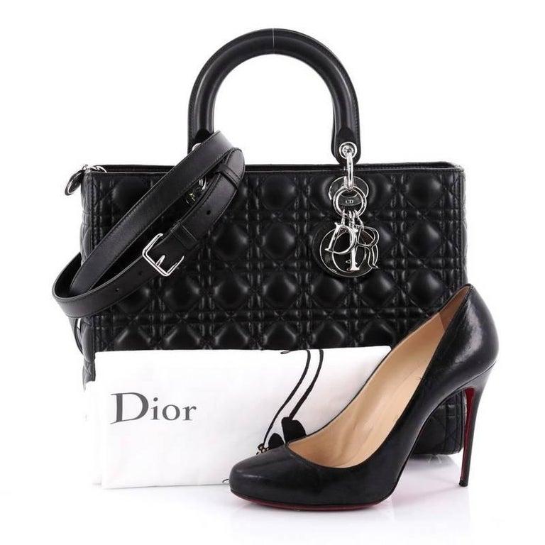 Christian Dior Lady Dior Handbag Cannage Quilt Lambskin ...
