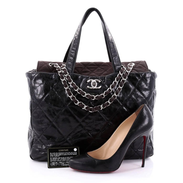 This authentic Chanel Portobello Tote Quilted Glazed Calfskin Medium is a  luxurious bag that is perfect b4cc2cbcb8
