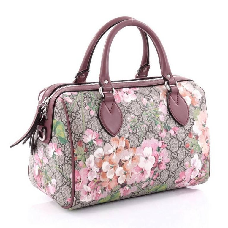 d319bdaa16b948 Brown Gucci Convertible Boston Bag Blooms Print GG Coated Canvas Small For  Sale