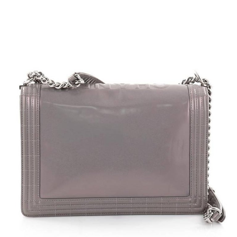 d764b8d23aca53 Chanel Reverso Boy Flap Bag Glazed Calfskin Large In Good Condition For  Sale In New York