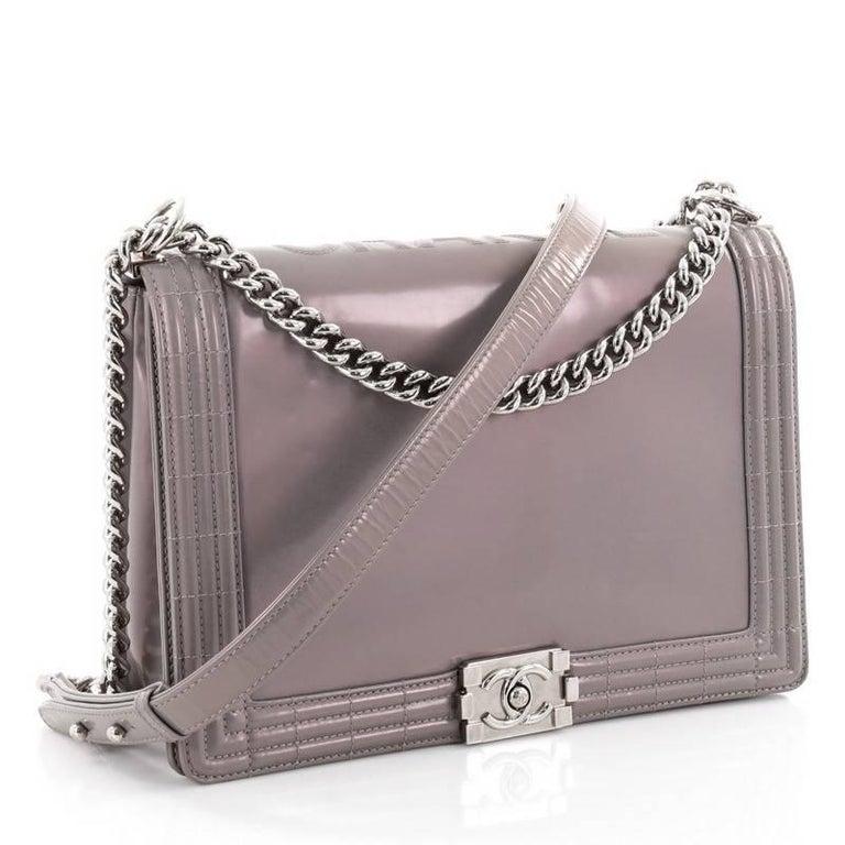 2fa7f568237edb Gray Chanel Reverso Boy Flap Bag Glazed Calfskin Large For Sale