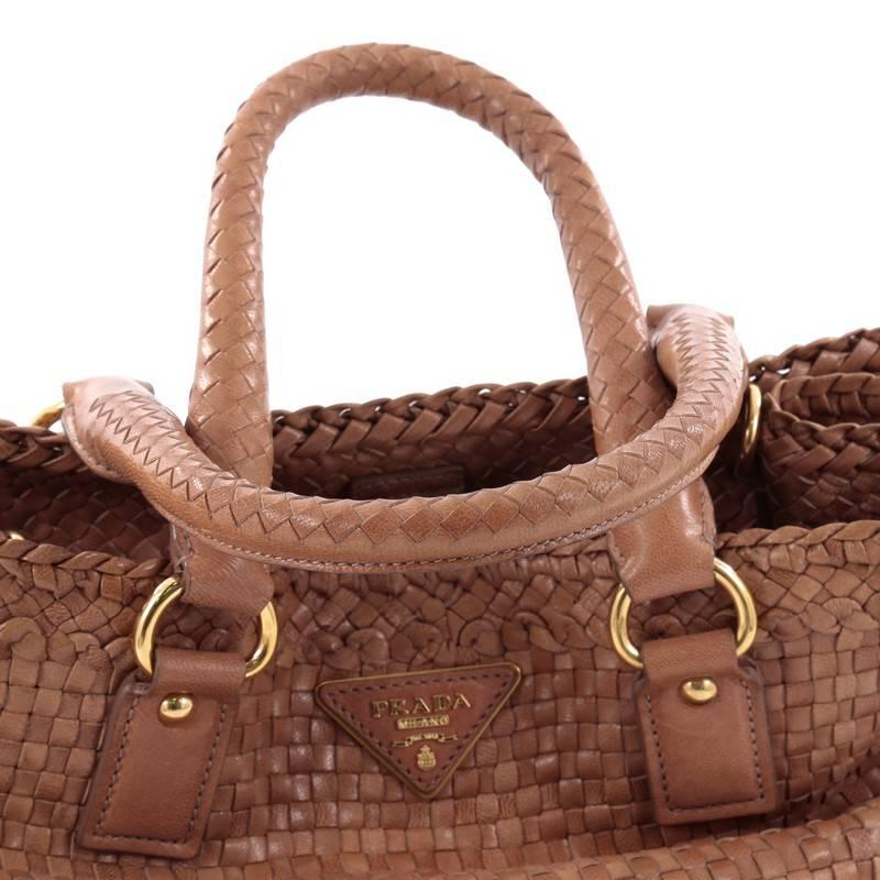 Prada Madras Convertible Open Tote Woven Leather Small 61KEk2X