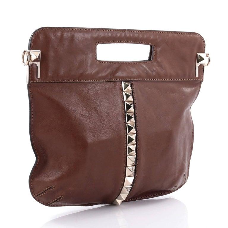 Brown Valentino Glam Lock Convertible Medium Shoulder Bag Leather  For Sale