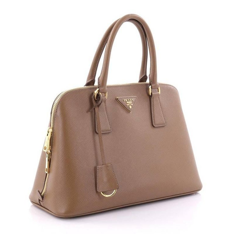 Brown Prada Promenade Handbag Saffiano Leather Medium For Sale