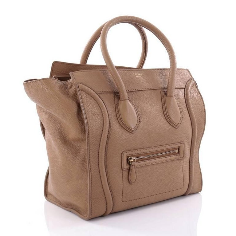 Celine Luggage Handbag Grainy Leather Mini 3