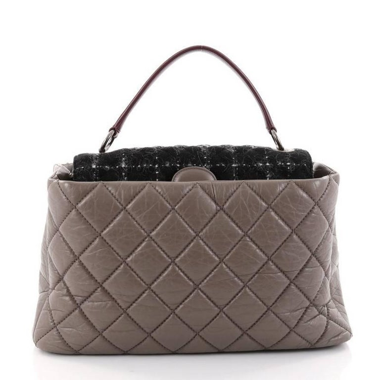 Chanel Portobello Top Handle Bag Quilted Aged Calfskin and Tweed Large In Good Condition For Sale In New York, NY