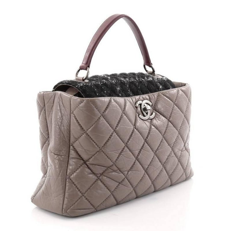 Gray Chanel Portobello Top Handle Bag Quilted Aged Calfskin and Tweed Large For Sale