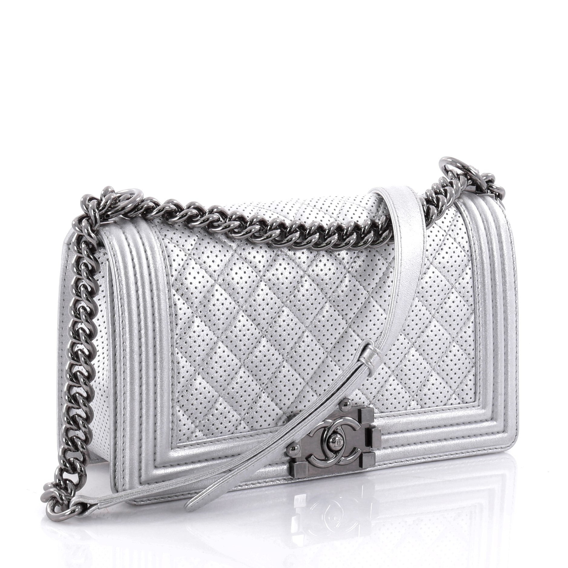 d790bcfddaaa Chanel Boy Flap Bag Quilted Perforated Lambskin Old Medium at 1stdibs