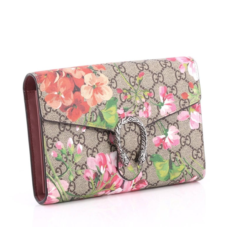 Gucci Dionysus Chain Wallet Blooms Print Gg Coated Canvas Small At b6f61c4e4e