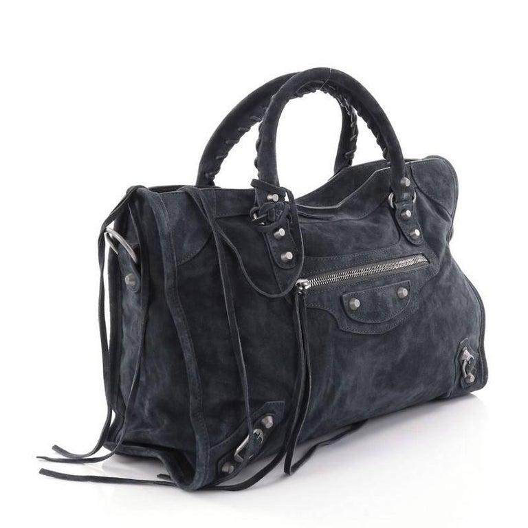 70063130f9c7 Black Balenciaga Baby Daim City Classic Handbag Suede For Sale