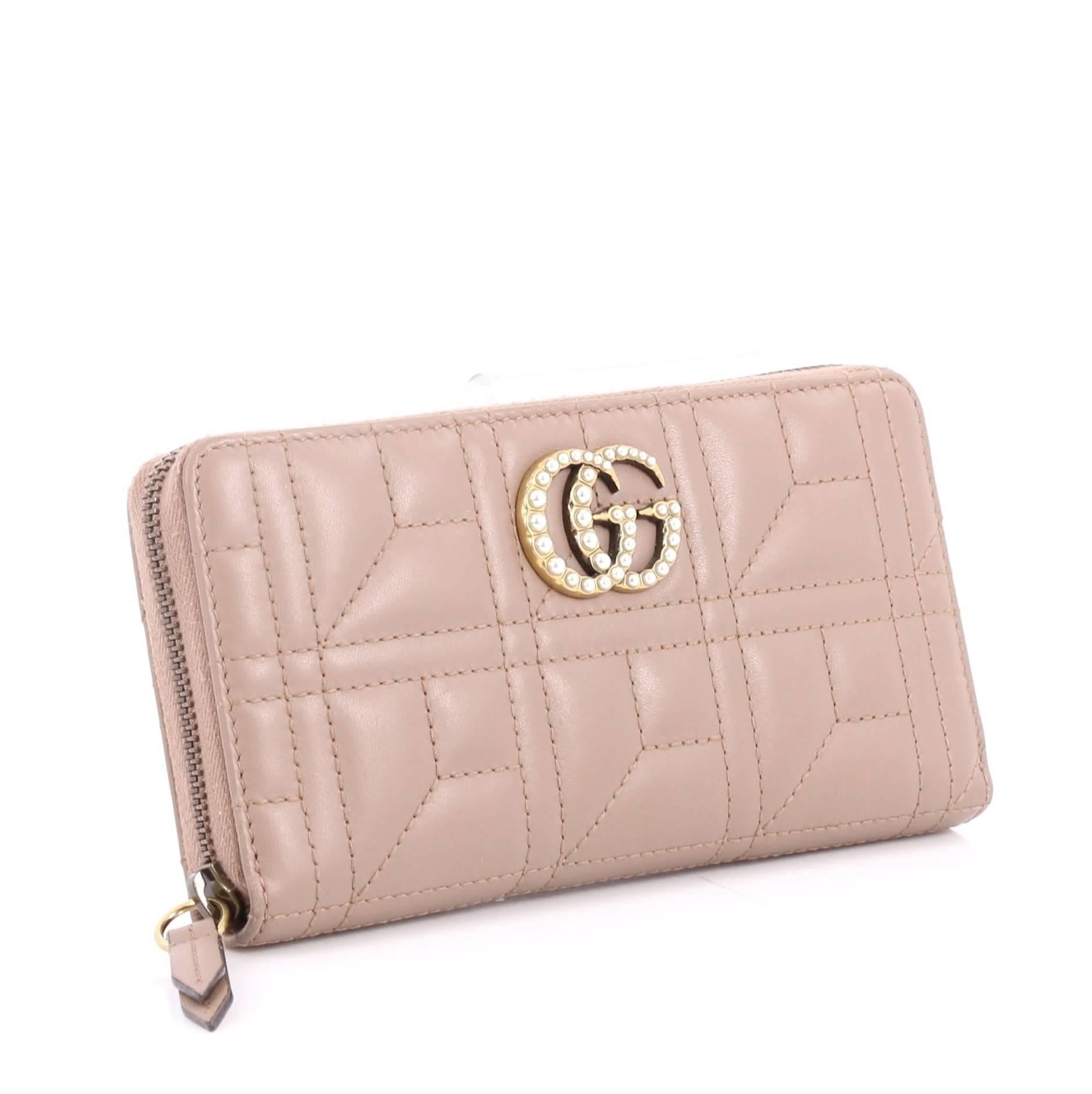 ca9b063846c Gucci Pearly GG Marmont Zip Around Wallet Matelasse Leather at 1stdibs