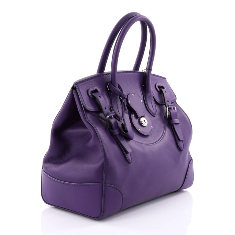 b74e1f7911cd Purple Ralph Lauren Collection Soft Ricky Handbag Leather 33 For Sale