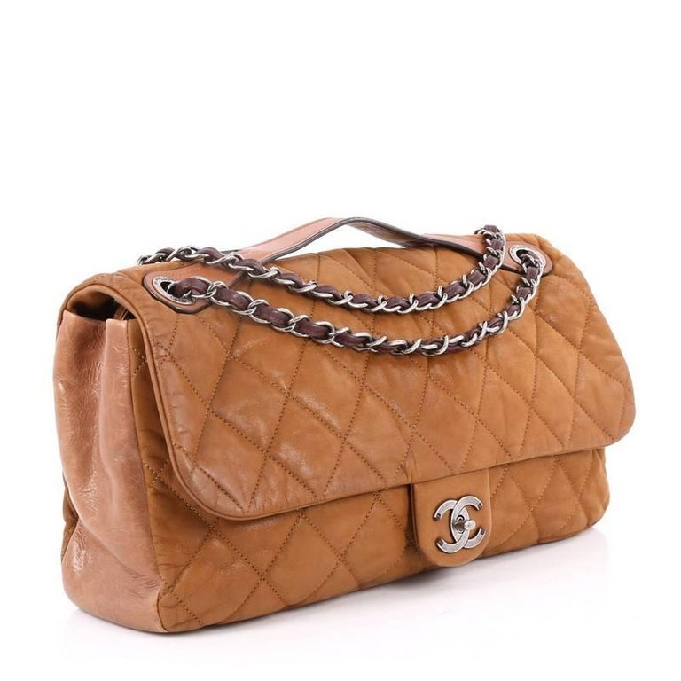 f44a8f8b2664 Brown Chanel In the Mix Flap Bag Quilted Iridescent Leather Jumbo For Sale
