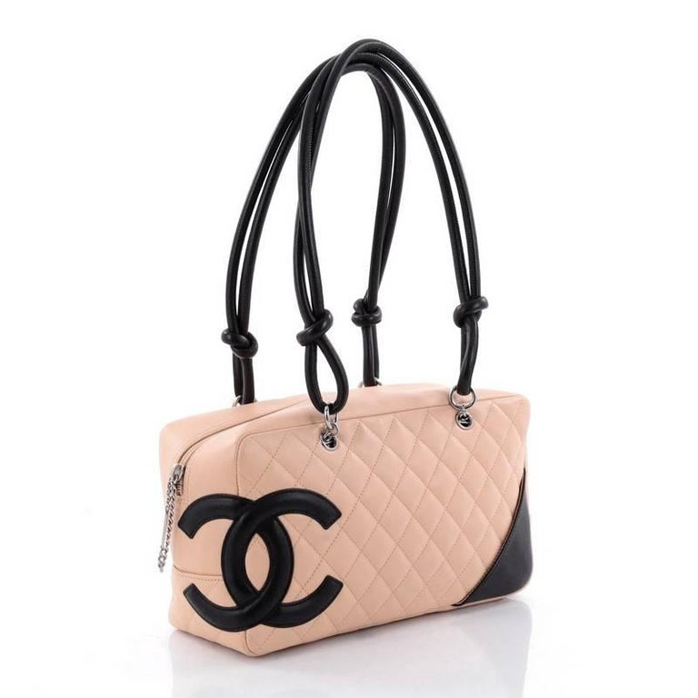 d42a526dca Beige Chanel Cambon Bowler Bag Quilted Leather Medium For Sale
