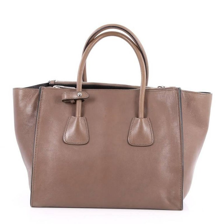 1541305eb18b3d Prada Twin Pocket Tote Glace Calf Small In Good Condition For Sale In New  York,