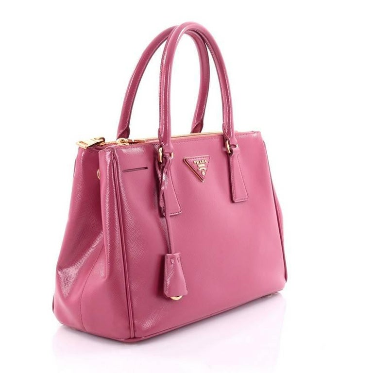 254df16ac087 Pink Prada Double Zip Lux Tote Saffiano Leather Small For Sale