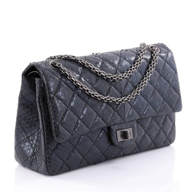 2e206d56443b Black Chanel Reissue 2.55 Handbag Quilted Metallic Python 226 For Sale