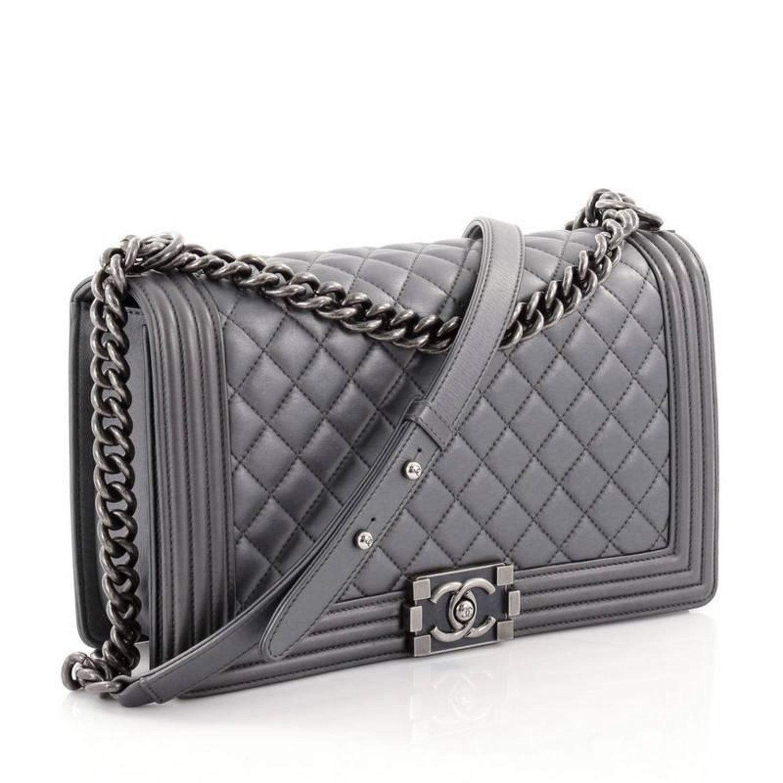 d8cd59b2e1e4c7 Chanel Boy Flap Bag Quilted Lambskin New Medium at 1stdibs