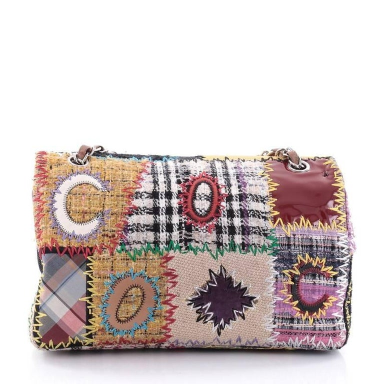 c537bd6fb46a Chanel Classic Single Flap Bag Multicolor Patchwork Jumbo In Good Condition  For Sale In New York